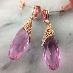 Pink Crystal Briolette Fashion Earrings